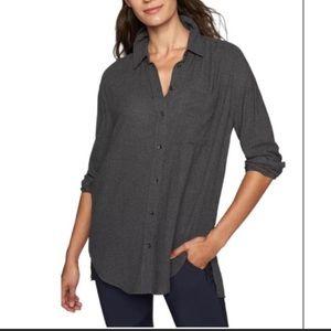 Athleta Avenues Wool Blend Button Down Shirt Gray